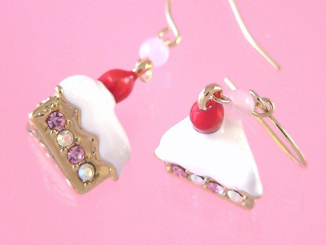 strawberry cake earrings
