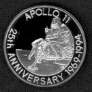 SILVER APOLLO 11 - HUGE 92.5% SILVER COIN MINTED IN 1993