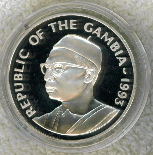 SILVER 1993 GAMBIA 20 DALASIS PROOF COIN.  Only 10,000 Minted !!