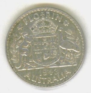 SILVER 1943 AUSTRALIAN FLORIN - BEAUTIFUL COIN!