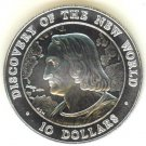 SILVER 1990 BAHAMAS $10 CHRISTOPHER COLUMBUS UNCIRCULATED  COIN - ONLY 550 MINTED !