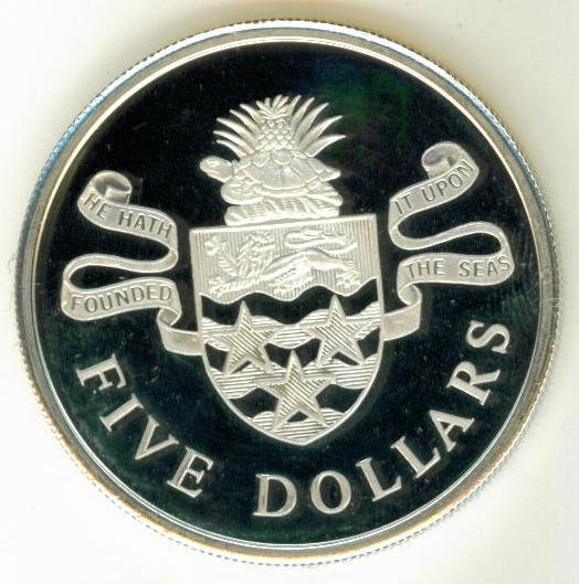 SILVER 1974 CAYMAN ISLANDS PROOF $ 5.00 COIN - EXTRAORDINARILY BEAUTIFUL COIN !!