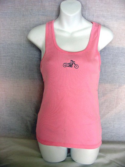 Choppers For Chics Tank top Womens Motorcycle Pink Ribbed Knit With Custom Embroidery 12.99