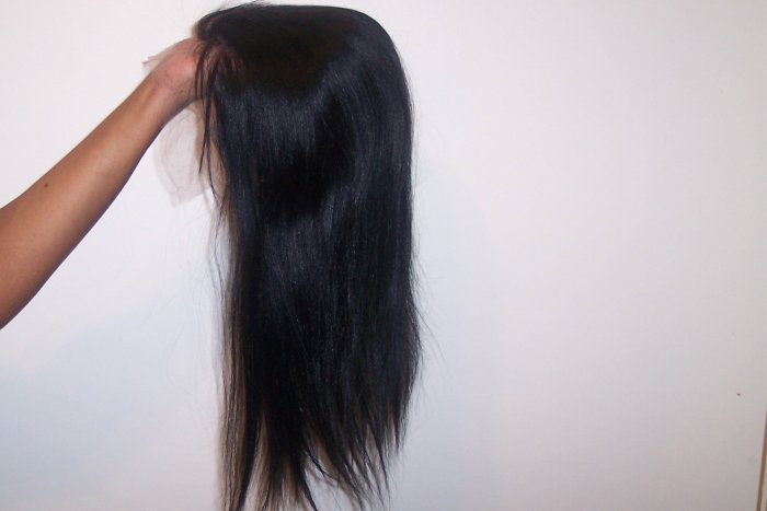 """Lace Frontal Wig 18"""" 100% Indian Remy Hair (#1) Yaky Perm Straight"""