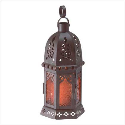 "10"" AMBER GLASS MOROCCAN-STYLE LANTERN"