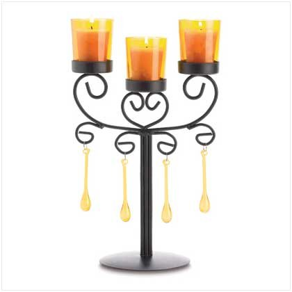 BEADED AMBER CANDLEABRA
