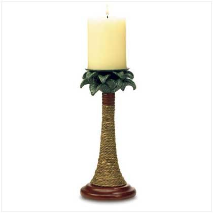 PALM TREE RATTAN CANDLEHOLDER SET