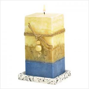 NEW! MULTI-LAYERED STONE CANDLE-ITEM #39222-BUY 1, GET 1 FREE