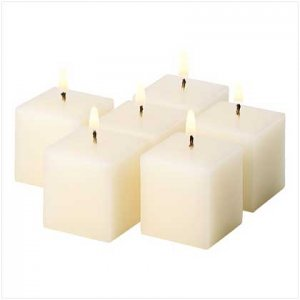 NEW! IVORY VANILLA CUBE VOTIVES-ITEM #39213-BUY 1 SET, GET 1 FREE