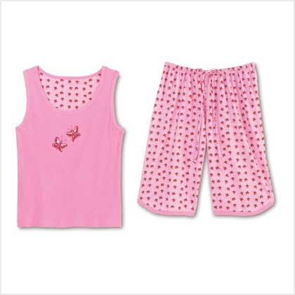 PINK BUTTERFLY PAJAMA SET-SIZES SMALL-XLARGE