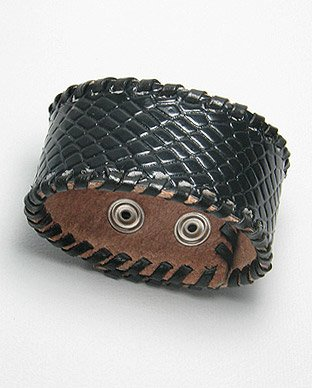 THAI LEATHER BAND CUFF BRACELET 7.5 to 8 INCHES IN BLACK