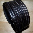 THAI LEATHER BAND CUFF BRACELET 7.5-8 INCHES BLACK