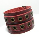 THAI LEATHER BAND CUFF BRACELET 6.5-8 INCHES RED