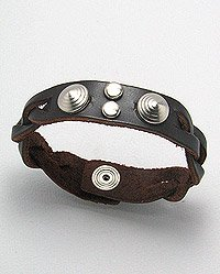 THAI LEATHER BAND CUFF BRACELET 8.5 INCHES IN BROWN