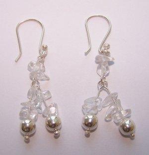crystal quartz earrings - aretes de cuarzo cristal
