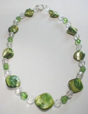 green nacre necklace - collar de nacar verde
