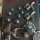 Vintage ceramic wall pockets set of black + gold fish w/ bubbles 1950s