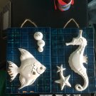 Vintage Enesco ceramic wall pockets set of 2 white fish seahorse bubbles on teal plaques 1970s