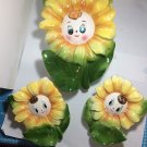 Vintage 1950s PY Miyao anthropomorphic Sunflower Wall Pockets ceramic Made in Japan set of 3