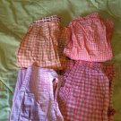 Lot of 4 pink orange vintage aprons gingham handmade housewife 1950s