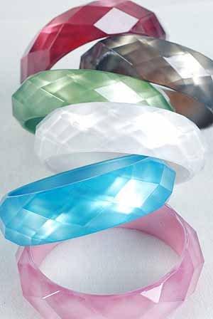 "Bracelet Bangle Cateye W Dialmond Cut 3""Wide/DZ 7 Color Asst"