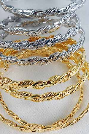 2pcs Bangles Cast 3'' Wide/DZ choose Gold Or Silver