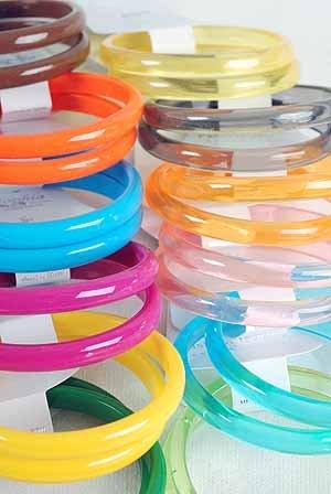 2pcs Bangles Transparent Acrylic 3'' Wide/DZ 7 Color Asst,Transparent Colors