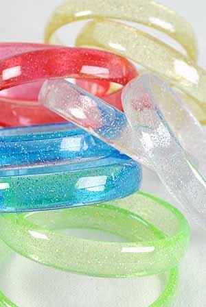 2pcs Bangles With Glitters Transparents 3'' Wide Color Asst/DZ** 6 Color Asst