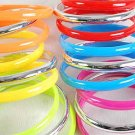 3pcs Bangles Acrylic W Silver Mix/DZ 6 Color Asst
