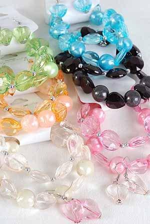 Bracelet & Earring Set 2 String Crystal& Pearl Mix/ ** New Arrival** 6Color Asst,Stretch