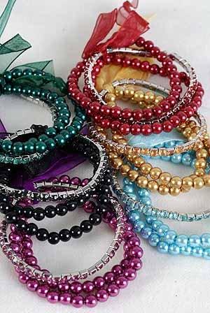 Bracelet & Earring Set 2string Pearl& Tennis,6 Color Asst/DZ Stretch
