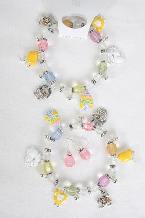 Bracelet & Earring Set Lucite W Easter Charms/DZ ** New Arrival** Stretch