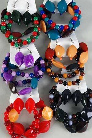 Bracelet & Earring Set Marble Over Shape Stretch/DZ **NEW** winter Selection,6 Color asst
