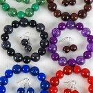 Bracelet & Earring Set Poly Glitter Ball Stretch/dz  **NEW** 6 Color asst,Stretch