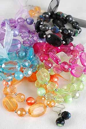 Bracelet & Earring Sets 2 string Acrylic Block W AB Finish/DZ Transparent 7 Color Asst With Ribbon