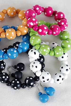 Bracelet & Earring Sets 22mm Ball W Polkadot Stretch/DZ Stretch,6 Color Ast