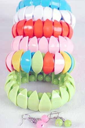 Bracelet & Earring Sets Acrylic W Art Deco Look,stretcht/DZ 7 Color Asst,Art Deco Look