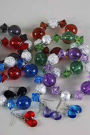 Bracelet & Earring Sets Large Lucite Ball W Silver Metallic/DZ ** New Arrival** Color Asst,Stretch