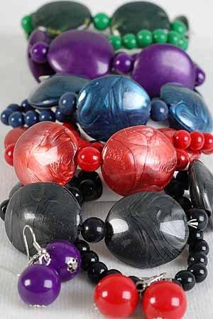 Bracelet & Earring Sets Large Poly Silky W Beads/DZ/dz 6 Color Asst