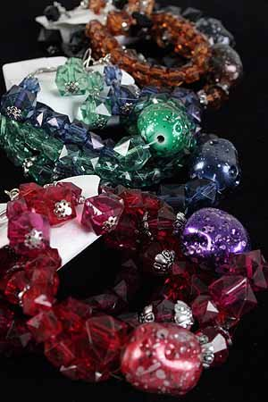 Bracelet & Earring Sets Lucite Black W SQ Beads Stretch/DZ/dz **NEW** Winter 6 Color asst