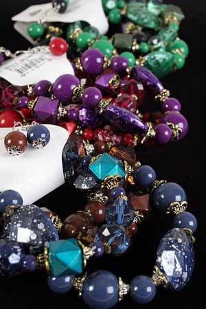 Bracelet & Earring Sets Lucite Block & Beads/DZ **NEW** 6 Color Asst Stretch