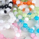 Bracelet & Earring Sets Lucite Candy W Crystals/DZ ** New Arrival** Stretch,6Color Asst