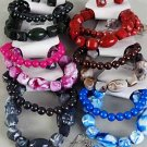 Bracelet & Earring Sets Marble Bklock W Beads/dz **NEW** 6 Color Asst,Stretch