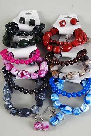 Bracelet & Earring Sets Marble Bklock W Beads/dz **NEW** 6 Color Asst,Stretch