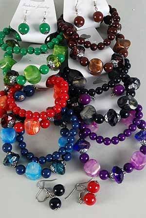 Bracelet & Earring Sets Metallic Pearl Black W Beads/DZ **NEW** Stretch 6 Color Asst