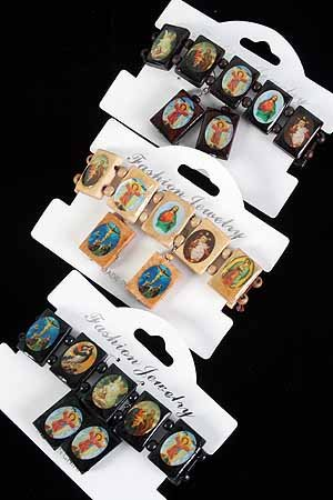 Bracelet & Earring Sets Religious Oblong/DZ **NEW** Natural Wood Color Asst,Stretch