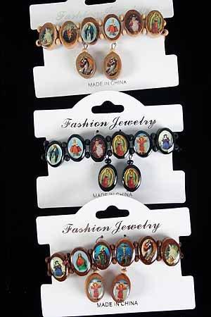 Bracelet & Earring Sets Religious Ovel/DZ **NEW** Natural Wood Color Asst,Stretch