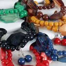 Bracelet & Earring Sets Solid Color Bead & Acrylic Silky Block Mix/DZ 6 Color asst,Stretch