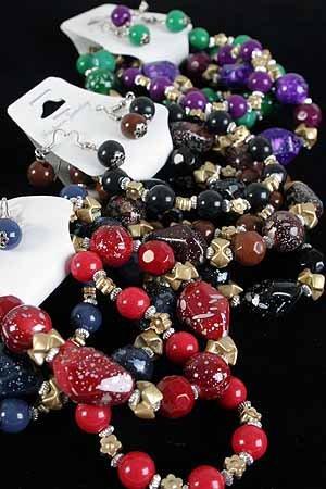 Bracelet & Earring Sets Solid Glitter Black W Beads/DZ **NEW** 6 Winter Color Asst,Stretch