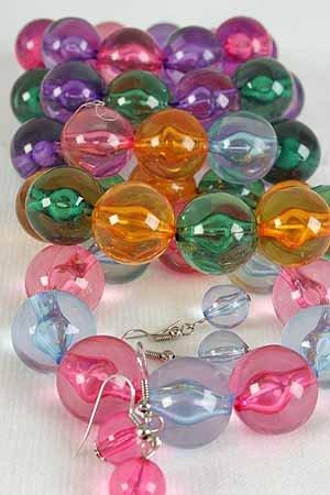 Bracelet & Earring Sets,24mm ball W Transparent, Multi Colors/dz **Stretch**